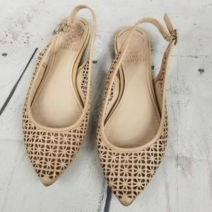 VINCE CAMUTO leather perforated slingback flats